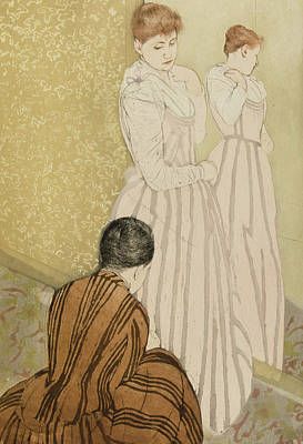 Interior Scene Painting - The Fitting by Mary Stevenson Cassatt