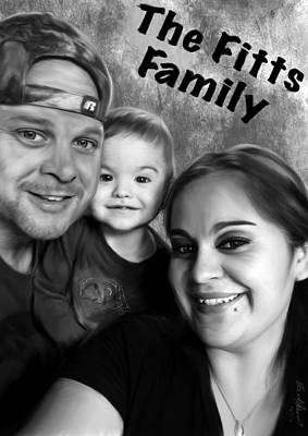 Drawing - The Fitts Family by Becky Herrera