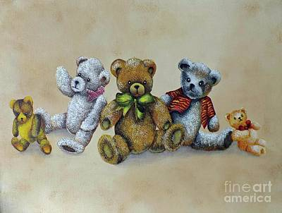 Wilderness Camping - The Five Bears - Acrylic Painting by Cindy Treger