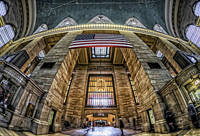 Photograph - The Flag At Grand Central Station by Rafael Quirindongo