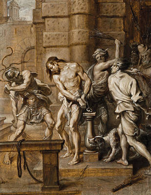 Tied-up Painting - The Flagellation by Abraham Jansz van Diepenbeeck