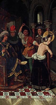 Drawing - The Flagellation Of Saint Engratia by Bartolome Bermejo