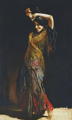 Painting - The Flamenco Dancer by Leopold Schmutzler