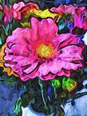 Digital Art - The Flames In The Soul Of The Pink And Yellow Flower by Jackie VanO