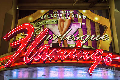 Flamingo Hotel Wall Art - Photograph - The Flamingo Burlesque Sign by Aloha Art
