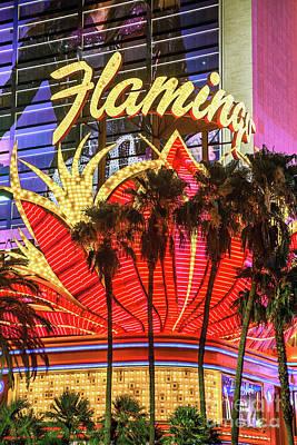 Flamingo Hotel Wall Art - Photograph - The Flamingo Neon Sign And Palm Trees by Aloha Art