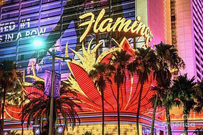 Flamingo Hotel Wall Art - Photograph - The Flamingo Neon Sign And Palm Trees Wide by Aloha Art