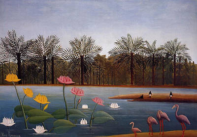 Painting - The Flamingoes by Henri Rousseau