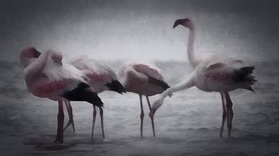 Digital Art - The Flamingos by Ernie Echols