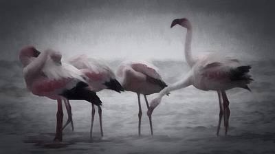 Digital Art - The Flamingos by Ernie Echols