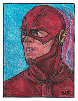 The Flash As Portrayed By Actor Grant Gustin Art Print by Neil Feigeles
