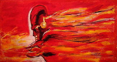 Comics Royalty-Free and Rights-Managed Images - The Flash Comic Book Superhero Character Flash Gordon Lightning in Red Yellow Acrylic Cotton Canvas  by M Zimmerman MendyZ