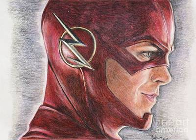 Drawing - The Flash / Grant Gustin by Christine Jepsen
