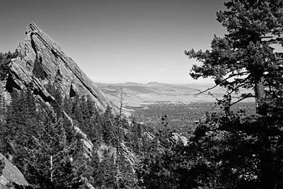 Photograph - The Flatirons Boulder Colorado From The Royal Arch Black And White by Toby McGuire