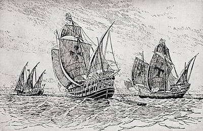 Christopher Columbus Drawing - The Fleet Of Columbus, The Santa Maria by Vintage Design Pics