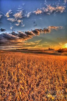 Photograph - The Fleeting Sunset Missouri Soybean Farming Art  by Reid Callaway