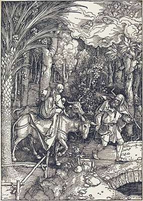 Drawing - The Flight Into Egypt by Albrecht Durer