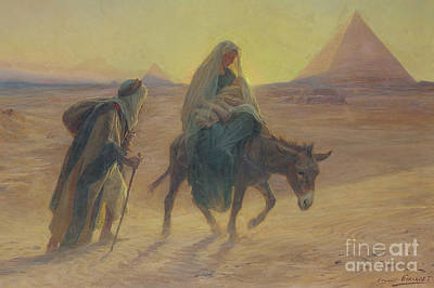 Mary And Jesus Painting - The Flight Into Egypt  by Eugene Alexis Girardet