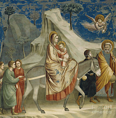 Angel Art Painting - The Flight Into Egypt by Giotto di Bondone