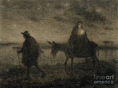 St Mary Drawing - The Flight Into Egypt by Jean Francois Millet