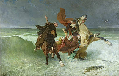 Horses In The Ocean Painting - The Flight Of Gradlon Mawr by Evariste Vital Luminais