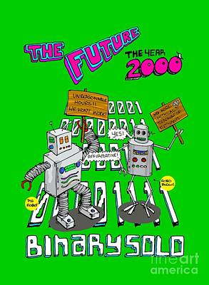 Film Series Drawing - The Flight Of The Conchords  Binary Solo  Robots  The Humans Are Dead by Paul Telling