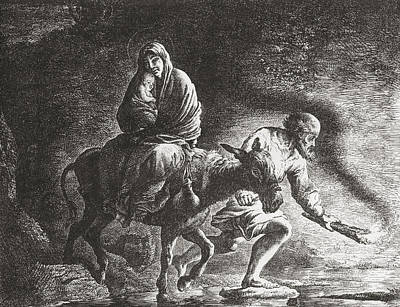 Bible Drawing - The Flight To Egypt After The Painting by Vintage Design Pics