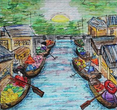 Watercolor Painting - The Floating Market by Art By Naturallic