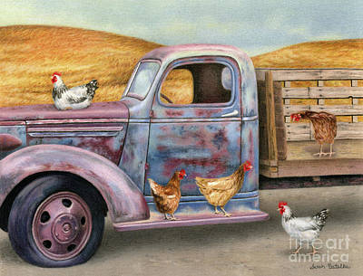 Old Chevy Painting - Where The Hens Gather  by Sarah Batalka