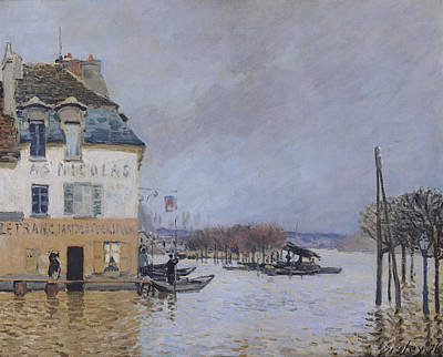 Flooding Painting - The Flood At Port Marly by Alfred Sisley