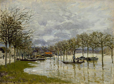 The Flood On The Road To Saint Germain Art Print by Alfred Sisley