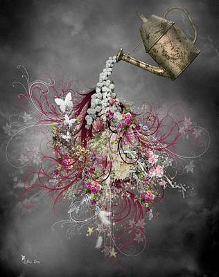 Digital Art - Floral Watering Can by Ali Oppy