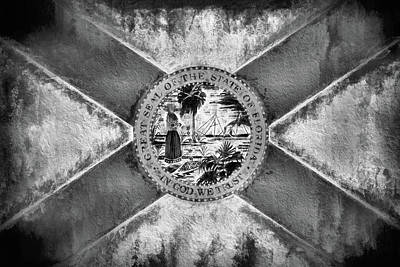 Digital Art - The Florida Flag In Black And White by JC Findley