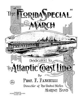 Photograph - The Florida Special March - Atlantic Cost Line Railroad by rd Erickson