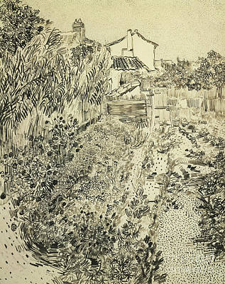 Pen And Ink Tree Drawing - The Flower Garden, 1888 by Vincent Van Gogh