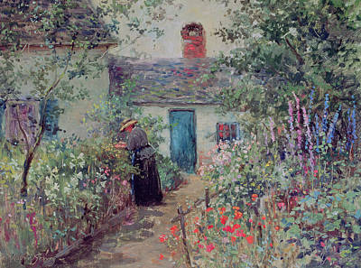 Chimney Painting - The Flower Garden by Abbott Fuller Graves