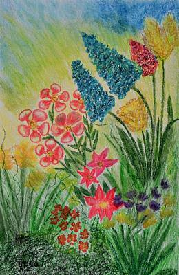 Drawing - The Flower Garden by Maria Urso