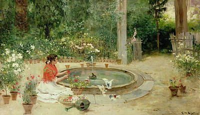 Pond Painting - The Flower Garden by Richardo Brugada y Panizo