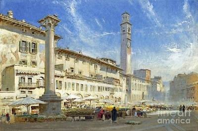 The Flower Market In The Piazza Delle Erbe Art Print by MotionAge Designs
