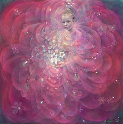 Flower Pink Fairy Child Painting - The Flower Of Childhood by Annael Anelia Pavlova