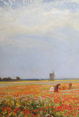 Poppies Field Painting - The Flower Pickers by David Murray