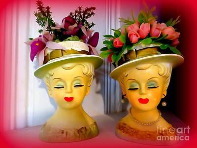 Digital Art - The Flower Pot Head Women by Ed Weidman