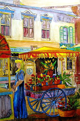 Montreal Cityscenes Painting - The Flowercart by Carole Spandau