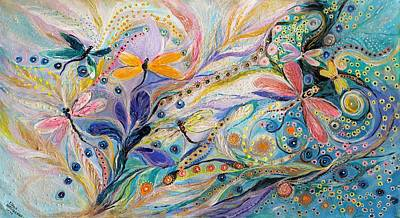 Painting - The Flowers And Dragonflies by Elena Kotliarker