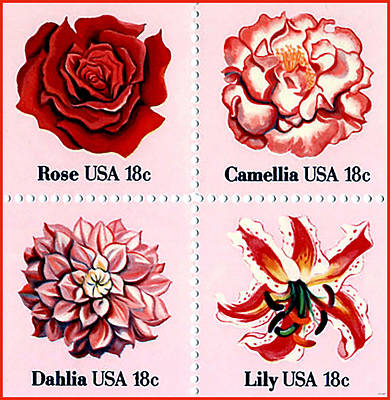 The Flowers Stamps Art Print