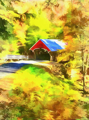 Mixed Media - The Flume Covered Bridge by Dan Sproul
