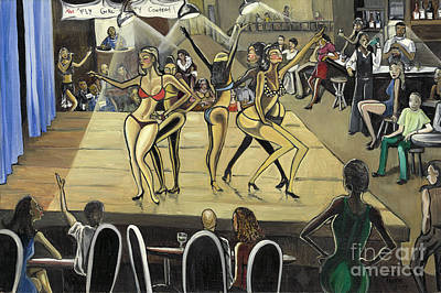 Party Scene Painting - The Fly Girl Beauty Contest by Toni  Thorne