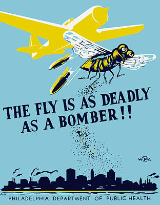 Works Progress Administration Painting - The Fly Is As Deadly As A Bomber - Wpa by War Is Hell Store