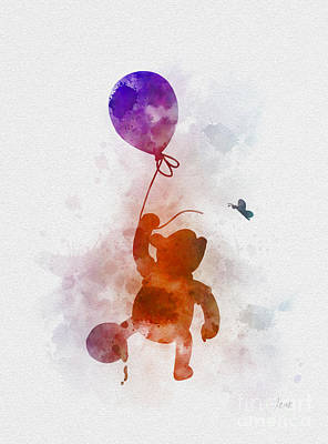 Balloons Mixed Media - The Flying Bear by Rebecca Jenkins