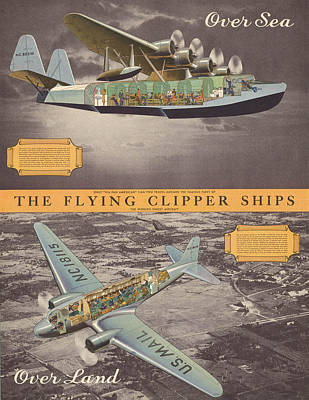 Mixed Media - The Flying Clipper Ships - Pan American Airways - Vintage Travel Advertising Poster by Studio Grafiikka